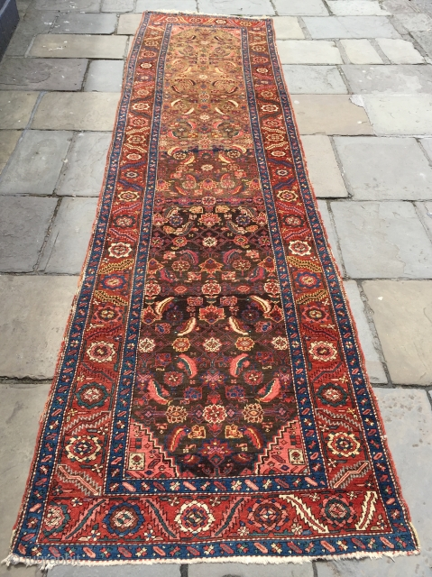 Very nice antique Bakshaish runner ca 1880 size 410 X 102 cm.