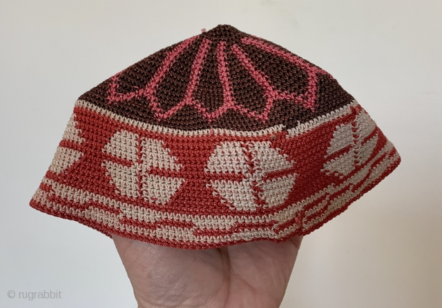 Crocheted silk hat North African totally reversible mint condition old
