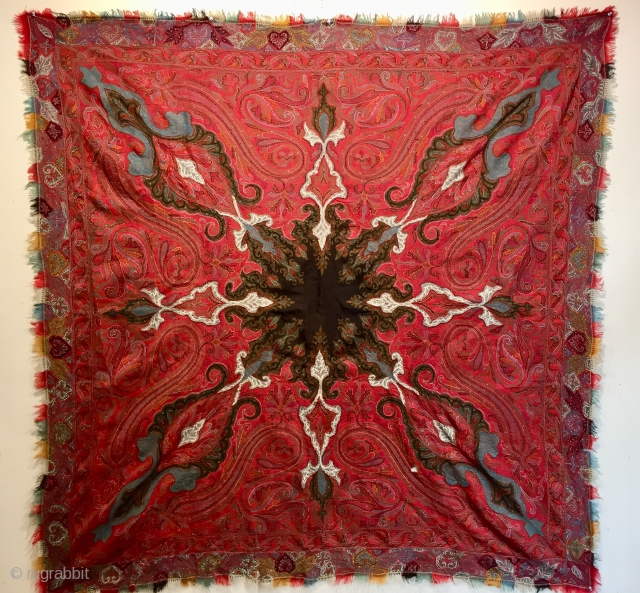 Kashmir shawl ca 1860 lovely colour and graphics