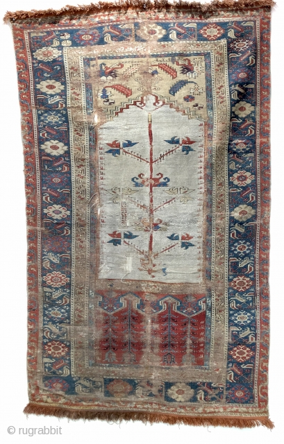 18 c Ladik prayer rug on rare white ground. Needs a good clean ask for more details