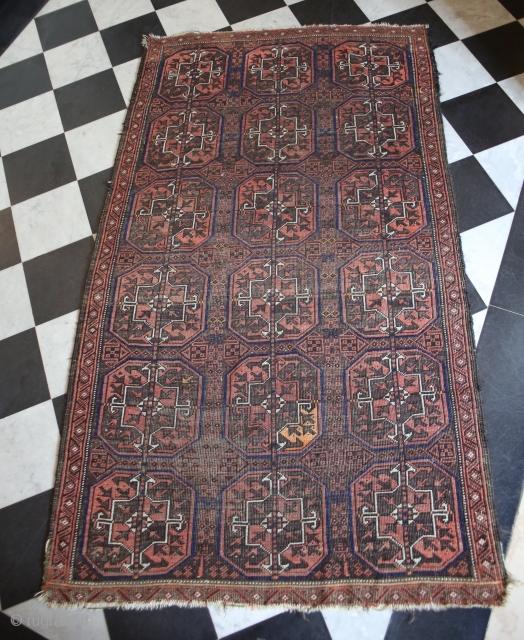 "Fine antique Ersari afghan tribal rug  /// Size : 5'8"""" x 3'3"" or 175 x 100 cm /// A bit used /// shipment from Paris"