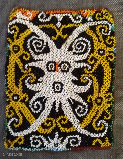 Beadwork Borneo  part of a Baby carrier, old and very fine work in best condition.  size: 17cm x 14cm