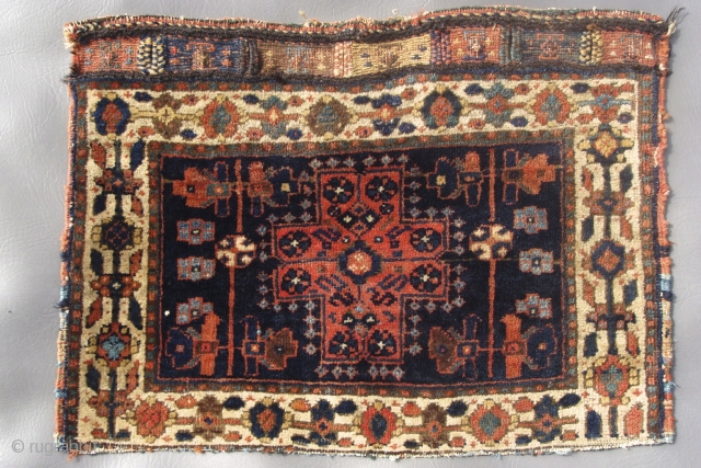 "Afshar bagface with very unusual field and border. 16"" x 22"".See better picture within"