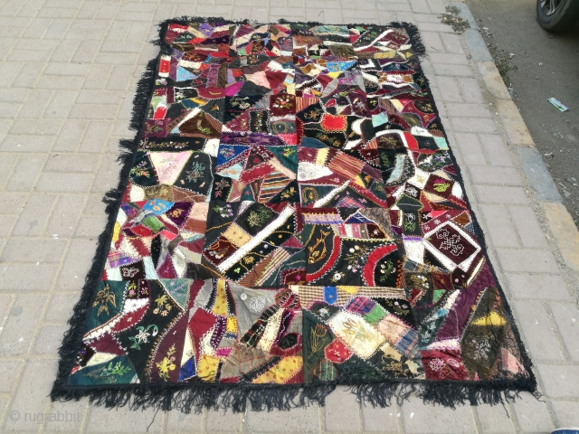 Antique crazy quilt. Size 6.6 by 4.5 feet.