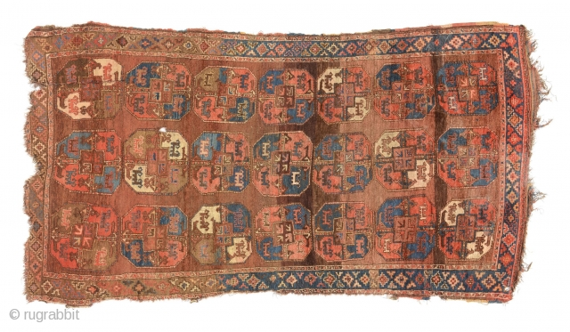 A Karakalpak/Qaraqalpaq rug, Central Asia, late 19th century, 310 x 165 cm, high pile, few wear areas, two holes, damages to sides, remains of the original kilim to one side.