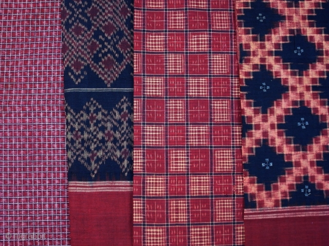 Telia rumal, set of 4 pieces of cotton cloth, natural dyes, traditional weft and double ikat, Chirala/ Andhra Pradesh/ India, ca. 1900