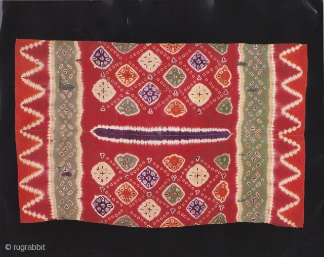 Indonesian Balinese textiles Indonesia - Bali 005 - (160cm x 105cm - 63in x 41in) Ceremonial Sarong, Pelangi, silk, dyes stitch resist dyeing, tie - dyeing, 80 -100 years, various repairs, very  ...