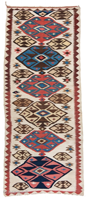 Shahsavan Kilim, 315 x 130 cm (10 ft. 4 in. x 4 ft. 3 in.), Aserbaidschan, ca. 1900, Starting bid € 200, Auction March 9th at 4pm, https://www.liveauctioneers.com/item/69398192_shahsavan-kilim