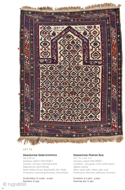 Auction on March 30th at 4pm, all on offer with no reserve!, https://www.liveauctioneers.com/item/69912789_daghestan-prayer-rug