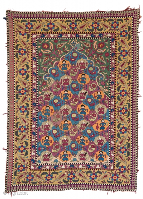 Lot 95, AZERBAIJAN EMBROIDERY 175 x 127 cm (5ft. 9in. x 4ft. 2in.) Persia, 1st half 19th century, Starting bid: € 5.500, Auction on April 22nd, https://new.liveauctioneers.com/item/52104258_azerbaijan-embroidery-175-x-127-cm-5ft-9in-x-4ft