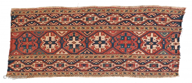 "Lot 22, SHAHSAVAN SUMAKH PANEL 97 x 39 cm (3ft. 2in. x 1ft. 3in.) Azerbaijan, late 19th century Published: ""Mafrash"", Siawosch Azadi 1985, Page 144, Auction April 22nd 4pm, https://new.liveauctioneers.com/item/52104185_shahsavan-sumakh-panel-97-x-39-cm-3ft-2in-x-1ft"