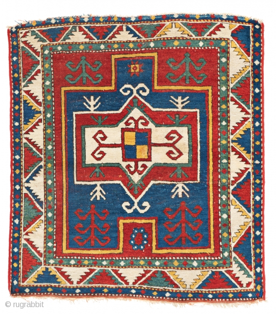 Lot 1, Fachralo Prayer Rug, 3 ft. 11 in. x 3 ft. 7 in., Caucasus, ca. 1880, Condition: good, upper end incomplete, pile partly low, one restored pleat, Warp: wool, weft: wool, pile: wool Provenance: Theo Häberli private  ...