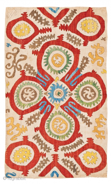 Lot 36, Kaitag Embroidery, 3 ft. 5 in. x 5 ft. 4 in., Caucasus, 18th century,  Condition: very good, slightly stained, minor signs of use, Silk on wool Provenance: Theo Häberli private collection,  ...
