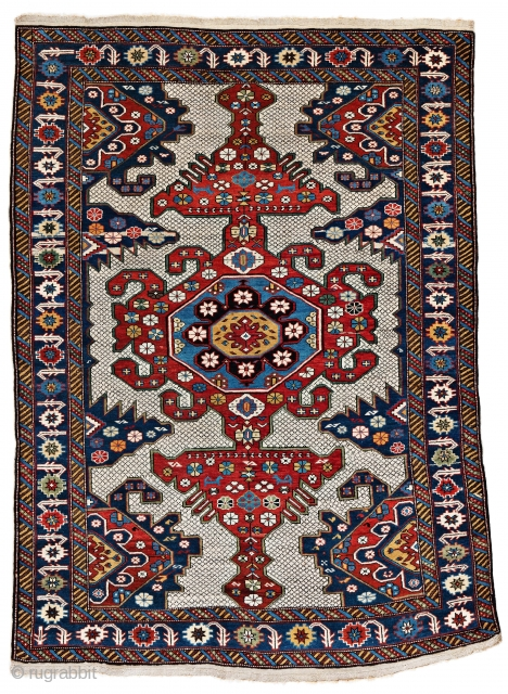"Lot 11, Shirvan, 155 x 113 cm (5' 1"" x 3' 8""), Caucasus, ca. 1880, Auction on November 2nd at 4pm, https://www.liveauctioneers.com/item/76673377_shirvan"