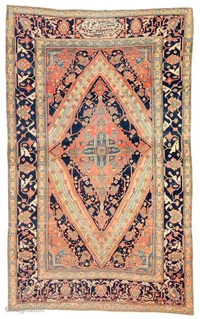 Lot 15, Kashan Mohtashem signed, Persia circa 1880, 7 ft. 3in. x 4ft. 6in., 220 x 136 cm, Condition: good, some spots low pile, Wool pile, cotton warp, cotton weft, Auction November  ...