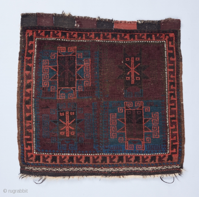 """Baluch bag face with a rare, beautiful color palette. 2'2""""x 2'2"""". All original . Corroded black."""