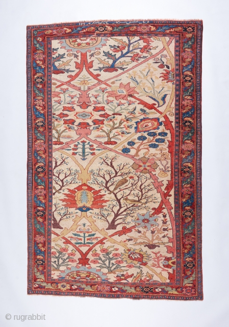 "The best Bijar in all the land. Fine "" halvai "" weave, hot red ( who cares ) . Inscription dating it to 1900.  A painterly masterpiece. 7'2"" x 4'7"". Has  ..."