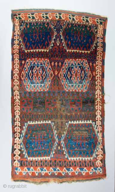 """East Anatolian rug with familiar hexagonal motifs rendered in a spacious and powerful composition. Deep, glowing color palette. Rustic, coarse weave. Completely original. 6'4"""" x 3'7"""".   Please visit our website for more  ..."""