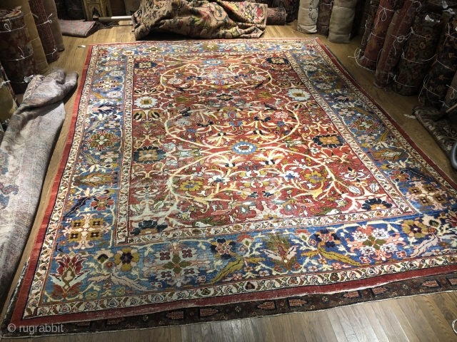 Beautiful Mahal with a great border. All original with some wear . One small hole , The back of one end glued all the way across . The color is much better  ...