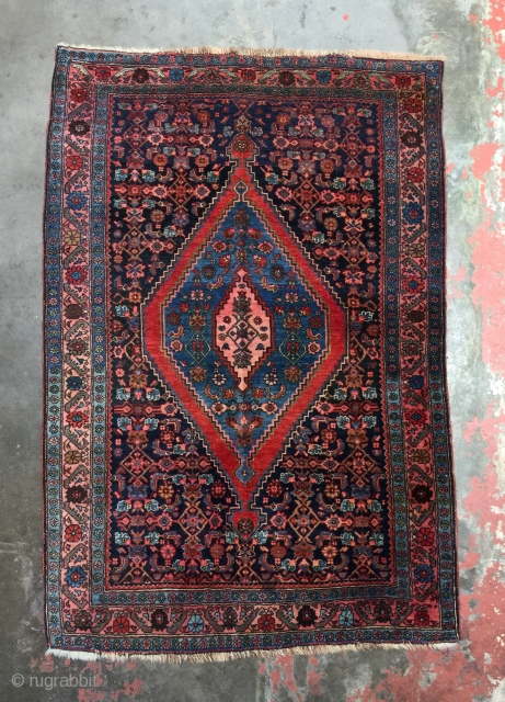Antique Persian Bidjar rug made in the first quarter of the 20th century. Beautiful natural dyes. Size: 3'9 x 5'6. Excellent condition with medium to low pile with slight areas of wear.  ...