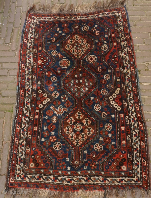 Luri small tribal rug with deep natural colours. A jewel. Mint condition, full pile, clean, no problems, only some minor loss on one side. 
