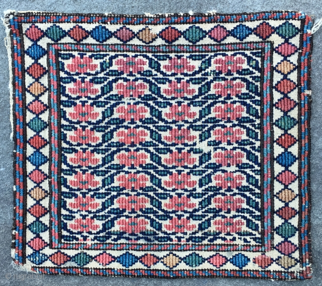 """Very Sweet and unusual little reverse soumac Chanteh. Hard to say if this is Shasavan or Bidjar. But great color and good condition. Approx. 10"""" x 10""""."""