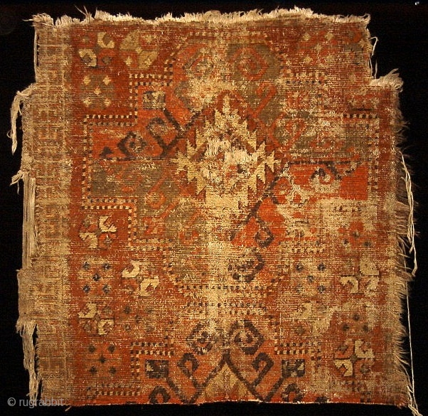 Kirghiz fragment, older than any Kirghiz piece I've seen with an ancient aesthetic. This piece was sourced in Tibet. It appears to be quite old. Realistically it is probably no older than  ...