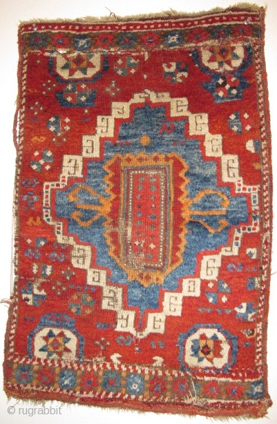 "Yastik-shaped East Anatolian pastiche nicely assembled from what must have been a great East Anatolian Sivas? rug. Thick pile, good colors, could use a wash. 33""x22"""