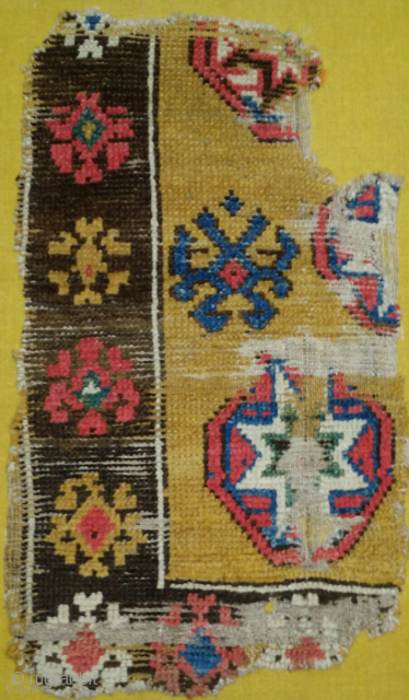 """Central Anatolian Konya / Capadocia area rug fragment. Former Kirscheim Collection published in ' Orient Stars ' as 17th century with the following description...  """"[plate] 114  Corner Fragment with Eight-Pointed Star  Eastern Konya region  17th century  39x66cm  This  ..."""