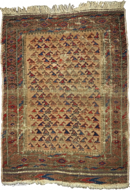 "Small camel-ground Baluch rug with zoomorphic looking botehs. Very cute piece with some damage but complete. size= 26""x37"""