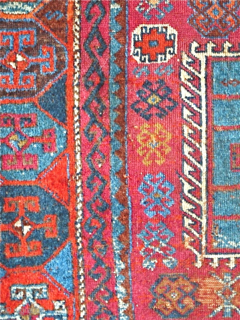 """East Anatolian Kurd Rug, fantastic wool, saturated color. orange wefted, condition issues, good scale, recently washed and gleaming. 7'3""""x4'5"""""""
