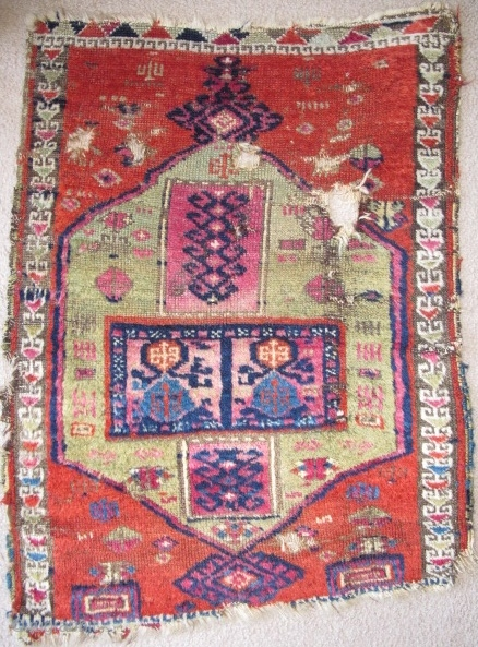 East Anatolian Yastik with spectacularly abstracted drawing. Woven with the thick glossy soft wool that this group is known for. Very colorful with abrash in the green (probably sulphonic?) and cochineal. Nice  ...