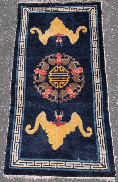 """Chinese rug with bats and 'shòu' symbol 壽 . Very soft wool pile. Probably Beijing early 20th century - 1920s. Tres chic. 3'8""""x5'. Small area of bottom right corner in the field  ..."""