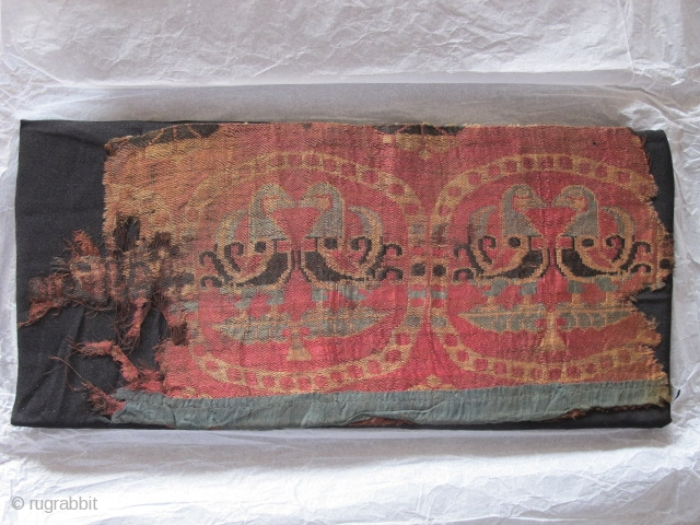 """circa 8th century silk samite textile fragment with paired birds in pearl roundels. Central Asian / Sogdian. apx. 10""""x16"""""""