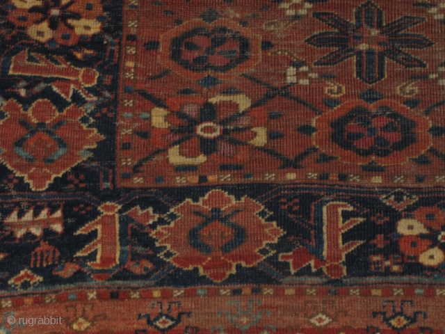 Ersari Turkmen chuval with mina-khani design. An early version of this type with two shades of insect pink, silk, two or three golds, and several shades of blue including a light sky-blue.  ...