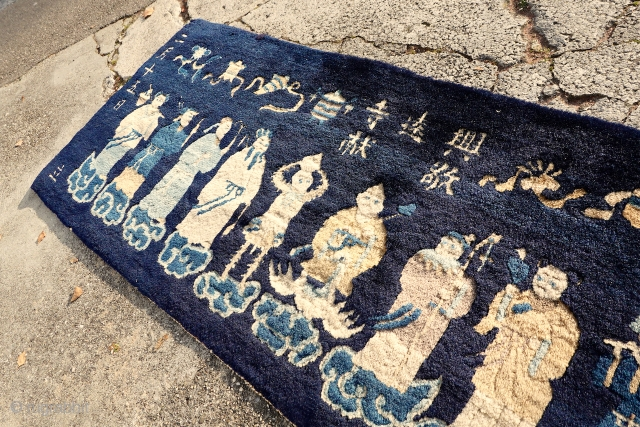 ANTIQUE PICTORIAL CHINESE FINE RUG   68cm x 192cm or 2.2 x 6.2   ANTIQUE PICTORIAL CHINESE FINE RUG, this rare example is full of people and signatures, lovely colors, lovely age, lovely pile,  ...