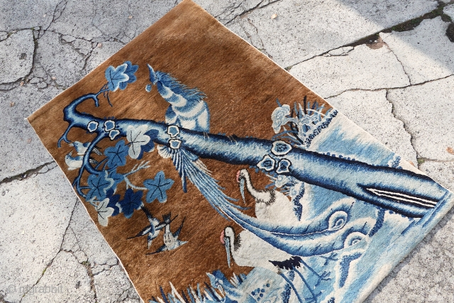 ANTIQUE PICTORIAL INDIGO CAMEL CHINESE FINE RUG  122cm x 183cm or 4.0 x 6.0  ANTIQUE PICTORIAL INDIGO CAMEL CHINESE FINE RUG, was hanging for most of its life, lovely different organic indigo blue shades  ...
