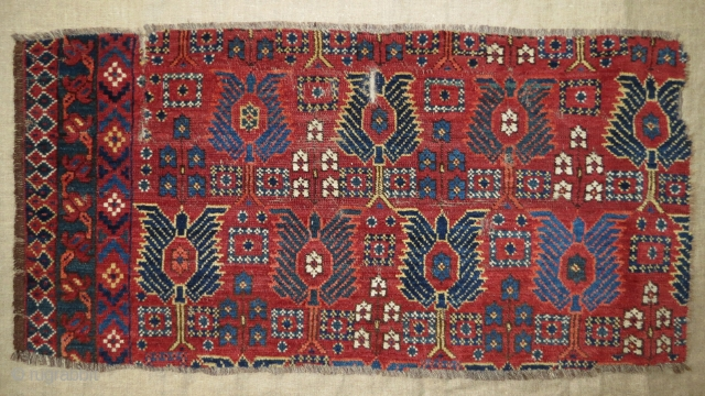 Beautiful and rare Beshir main carpet fragment mid 19th c.