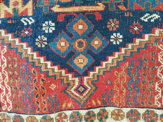 Afshar - 4.3 x 5.4 areas of wear, scattered moth, gouge on side.
