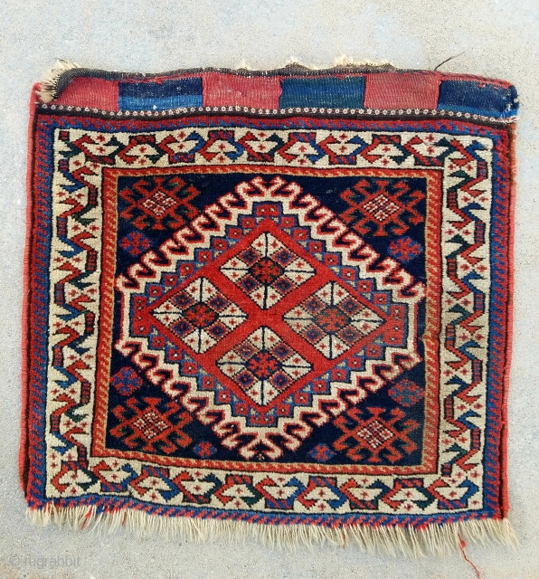 """SW Persian bagface- about 19"""" x 21"""".  Nice wool, meaty pile with couple scattered moth nibbles."""