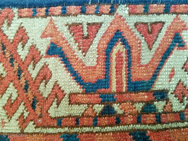 """Tekke - as found condition. interesting border and skirt embellishments for its type. about 4'1"""" x 5'11"""" having wear, small patches, ends/sides not original"""