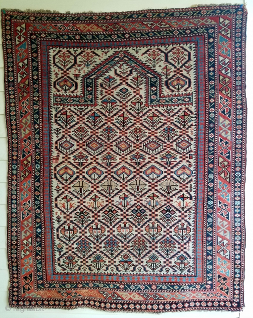 """Shirvan prayer rug - about 3'7"""" x 4'4"""".  Besides a few moth nicks and slight dog ear corners on right side, its a beautiful example in remarkable condition with nicely executed  ..."""