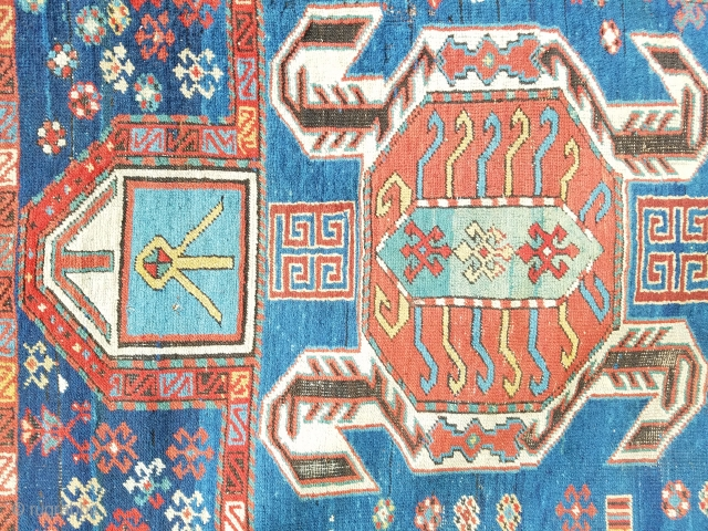 """Lenkoran prayer rug - about 3'6"""" x 5'8"""".  Natural and synthetic dyes, slight bleed of one red, and oxidized black. Some old repair including patch/reweave on right side border about 2""""  ..."""
