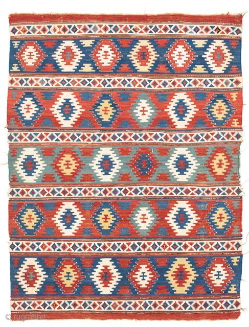 4' 1'' x 5' 5'' Mid-19th Century Caucasian Kelim Tremedous color. Rare size. All natural. No repairs, original condition. Oxidized browns.