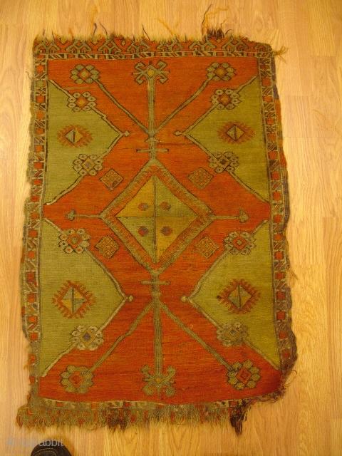 1' 10'' x 2' 9'' - A rare 19th century Anatolian Sumac Yastik.  Price is $1,100.