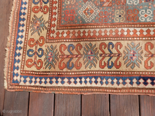 antique bordjalou kazak - large size of 63 x 89 inches - great price now