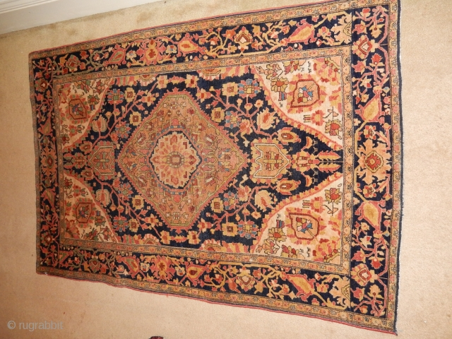 """exceptional farahan -fereghan - feraghan sarouk.    full lush pile with no repairs  , small 3'6"""" x 5' foot size . best quality wool and dyes with a  ..."""