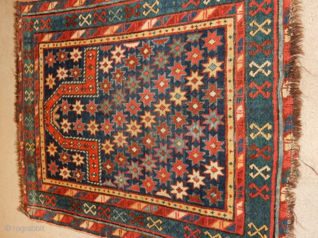 caucasian prayer rug with excellent full pile and only $400 incl usa shipping