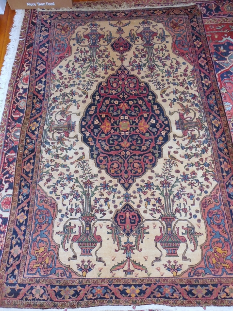 4 1/2 x 6 1/2 ferehan in beautiful condition with yellow field and animals