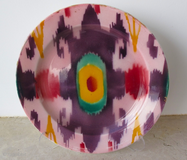 KUZNETSOV IKAT PLATE - D = 24 cms Dated 1920. Great condition.